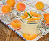 Yogurt with apricots — Stock Photo