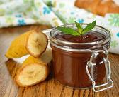 Chocolate dessert with banana — Stock Photo