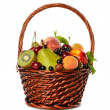 Various fruit in a brown basket — Stock Photo