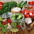Ingredients for pickling cucumbers and tomatoes — 图库照片