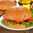 Vegetarian burger with vegetables — Foto Stock