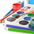 Colorful paints and pencils — Stock Photo