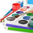 Stock Photo: Colorful paints and pencils