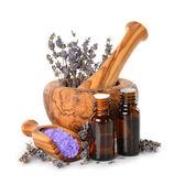 Lavender oil and salt — Stock Photo