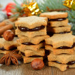 Foto Stock: Christmas cookies with chocolate