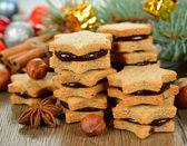 Christmas cookies with chocolate — Stock Photo