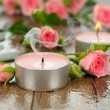 Candle and flowers — Stock Photo #30617953