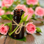 Rose essential oil — Stock Photo