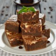 Chocolate cake brownies — Stock Photo