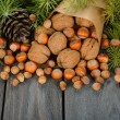 Nuts and green twigs — Stock Photo