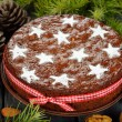 Stock Photo: Christmas fruit cake