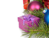 Box and Christmas decorations — Stock Photo