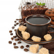 Coffee and brown sugar — Stock Photo