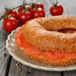 Stock Photo: Bagel with salmon