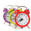 Colorful alarm clocks — Stock fotografie