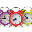 Colorful alarm clocks — ストック写真