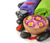 Stones, sea salt and flower — Stock Photo