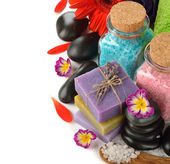 Soap, stones and flowers — Stock Photo