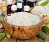 Sea salt in a wooden bowl — Stock Photo