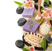Soap and flowers — Stock Photo