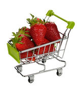 Strawberries in a metal basket — Stock Photo