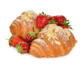 Croissant with strawberry — Stock Photo