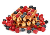 Liege waffles with berries — Stock Photo