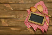 Writing board napkin and spoon — Stok fotoğraf