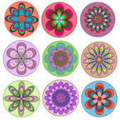 Set of multicolored flowers — Stock Vector