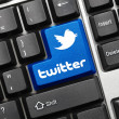 Stock Photo: Conceptual keyboard - Twitter (blue key with logotype)