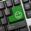 Conceptual keyboard - Good mood (green key) — Stock Photo