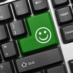 Conceptual keyboard - Good mood (green key) — Stock Photo