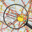 Destination - Brussels (with magnifying glass) — Stock Photo