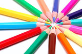 Circle of colored pencils (isolated) — Stock Photo