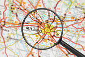 Destination - Milan (with magnifying glass) — Stock Photo
