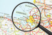 Destination - Liverpool (with magnifying glass) — Stock Photo