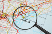 Destination - Venice (with magnifying glass) — Stock Photo