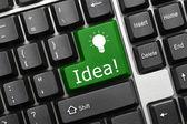 Conceptual keyboard - Idea (green key) — Stock Photo