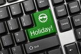 Conceptual keyboard - Holiday (green key) — Stock Photo
