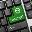 Conceptual keyboard - Summer (green key) — Stock Photo