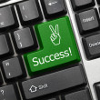Conceptual keyboard - Success (green key) — Stock Photo