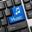 Conceptual keyboard - Music (blue key) — Stock Photo