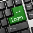 Stock Photo: Conceptual keyboard - Login (green key)