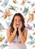 Money rain (roubles banknotes) — Stock Photo
