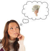 Girl dreaming about cash money — Stock Photo
