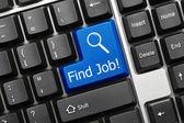 Kavramsal klavye - iş bul! (mavi tuş) — Stok fotoğraf