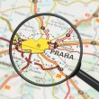 Destination - Prague (with magnifying glass) — Stock Photo