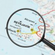 Destination - Reykjavik (with magnifying glass) — Stock Photo