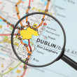 Destination - Dublin (with magnifying glass) - Stock Photo