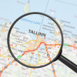Destination - Tallinn (with magnifying glass) — Stock Photo